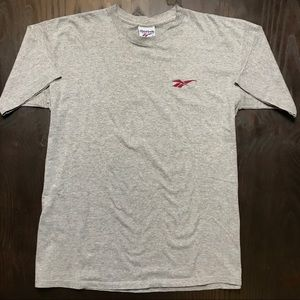 Vintage Reebok Logo T Shirt Single Stitch Gray XL